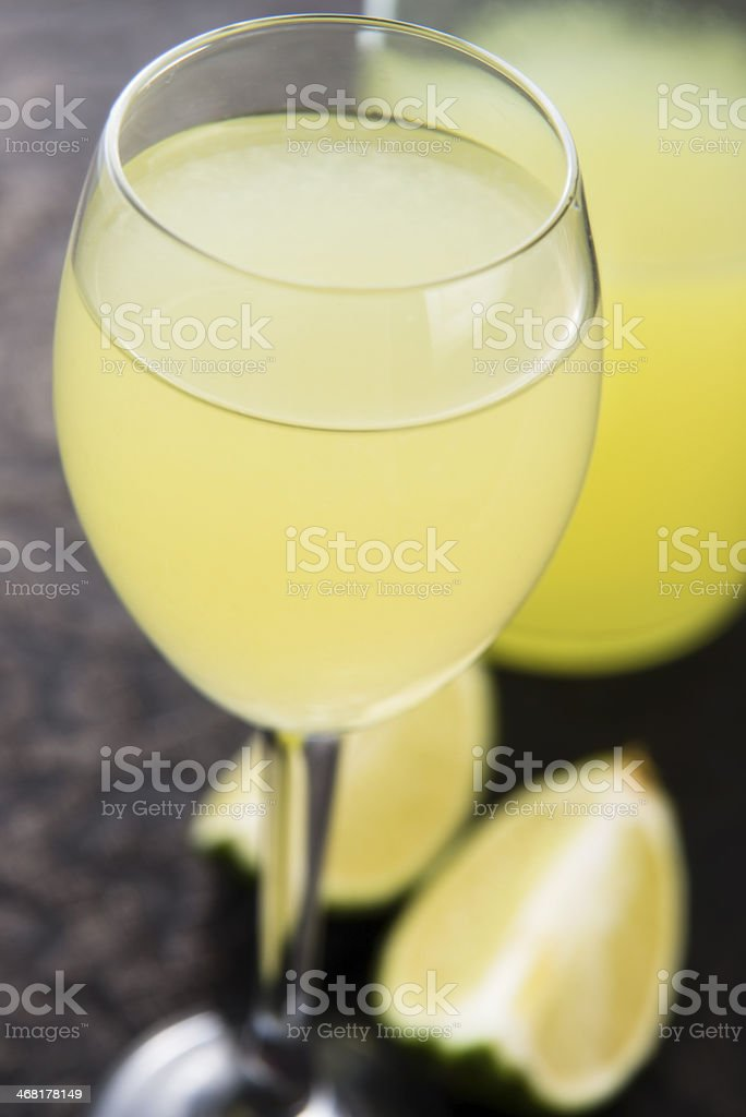 Limoncello Lemon Liqueur royalty-free stock photo