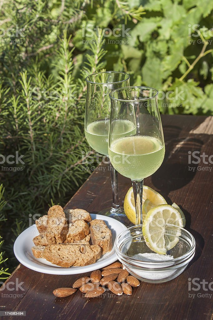 Limoncello liqueur and biscuits royalty-free stock photo