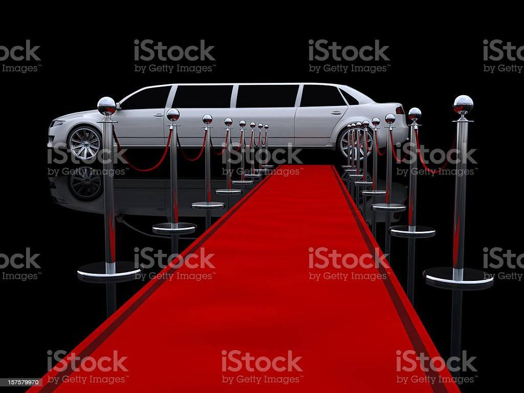 Limousine and red carpet royalty-free stock photo