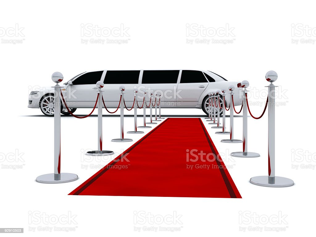 Limousine and red carpet stock photo