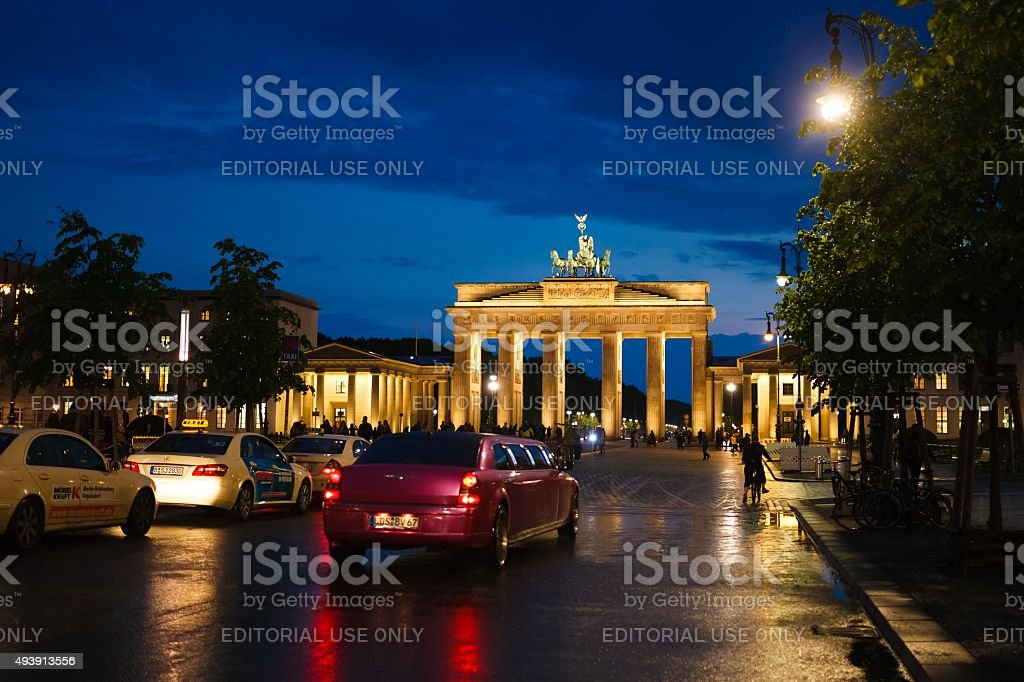 Limousine in street of Berlin stock photo
