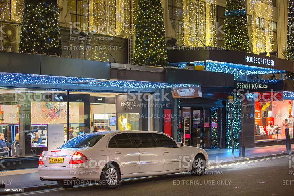 Limousine service car in front of Oxford street stock photo