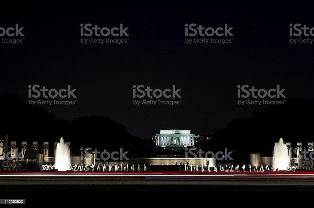 Lincoln  and WW2 memorial stock photo