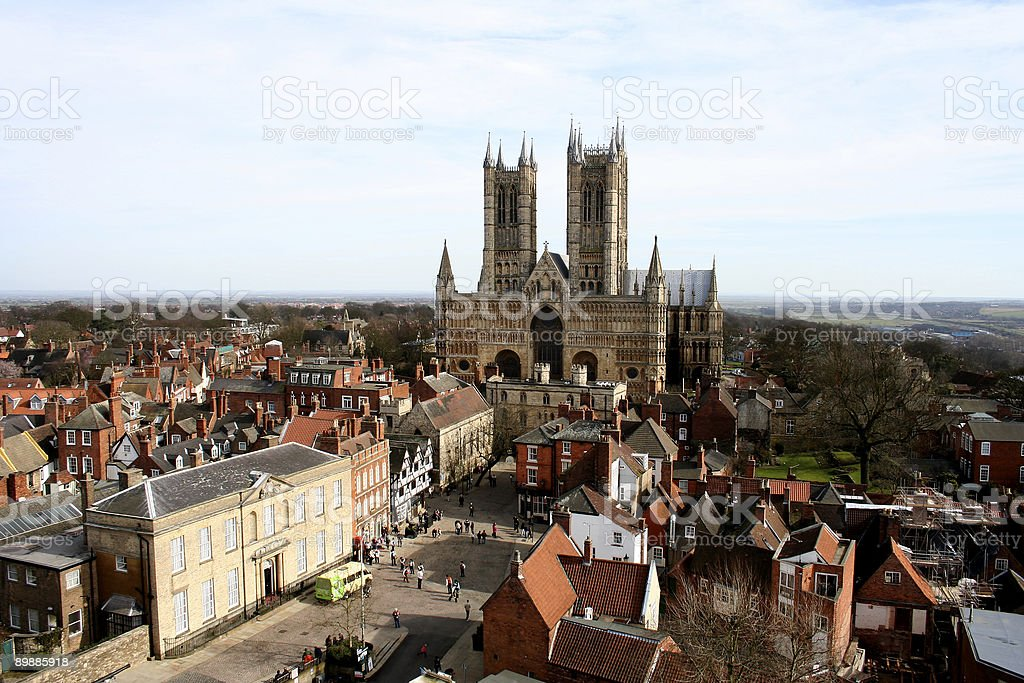 Lincoln Cathedral and Castle Square, Lincolnshire, England stock photo