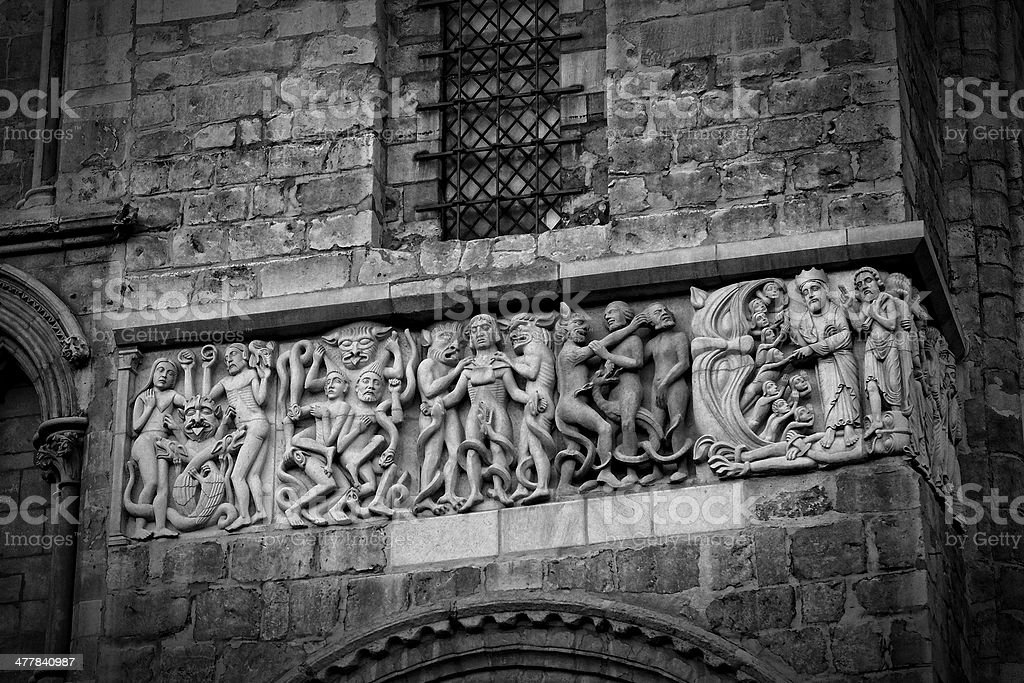 Lincoln Cathedral architectural detail - carved figures royalty-free stock photo