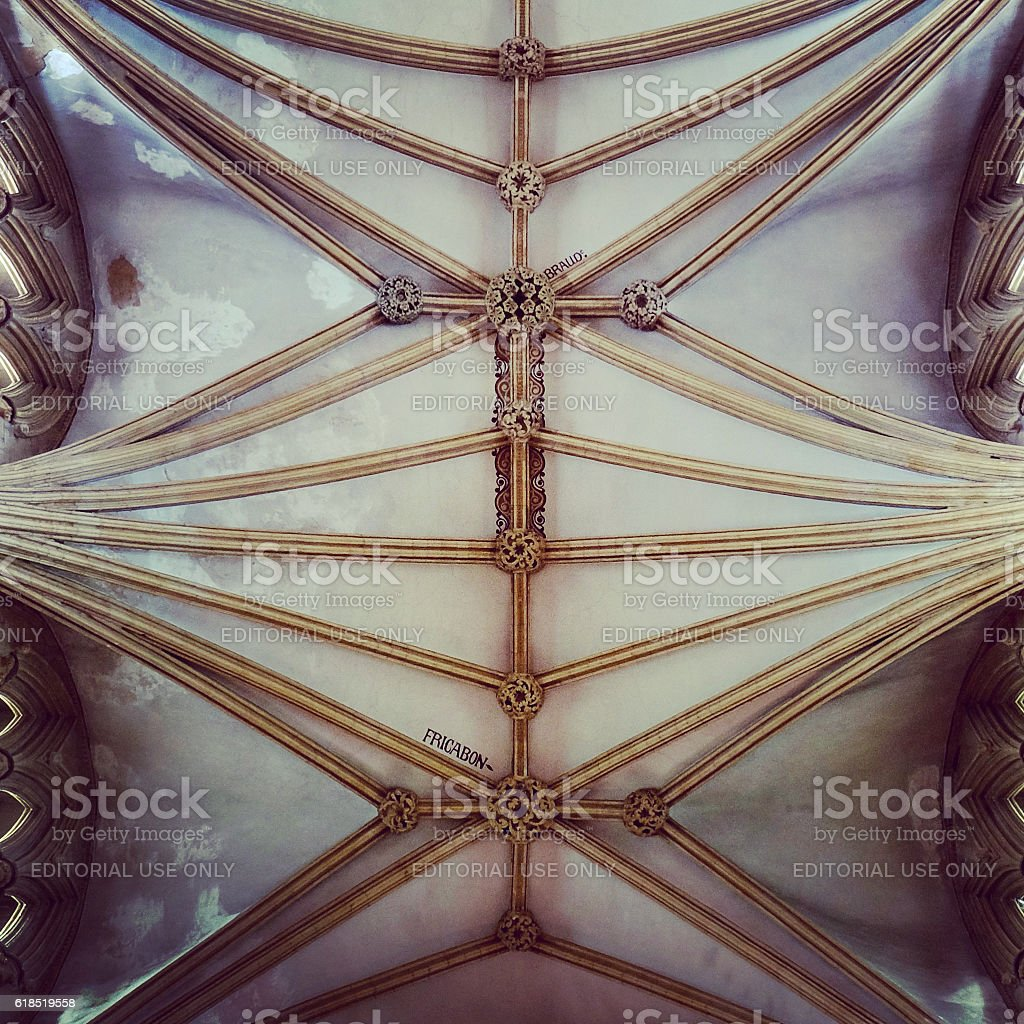 Lincoln Cathedral, England - Writing on Interior Ceiling stock photo