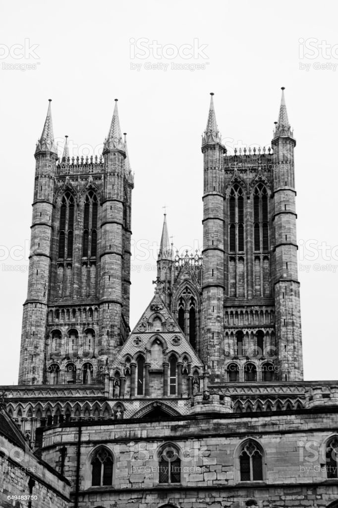 Lincoln Cathedral towers stock photo