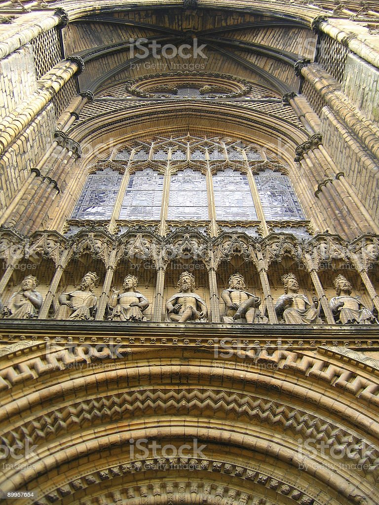 Lincoln Cathedral - West front window stock photo