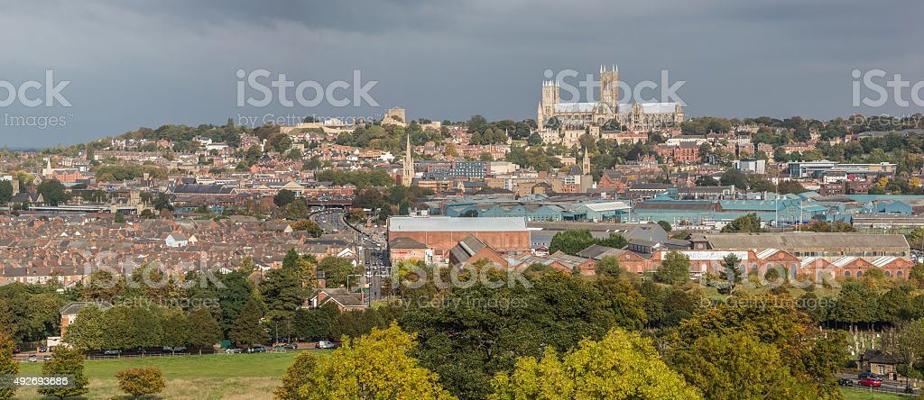 Lincoln City Panorama - Lincolnshire, UK stock photo