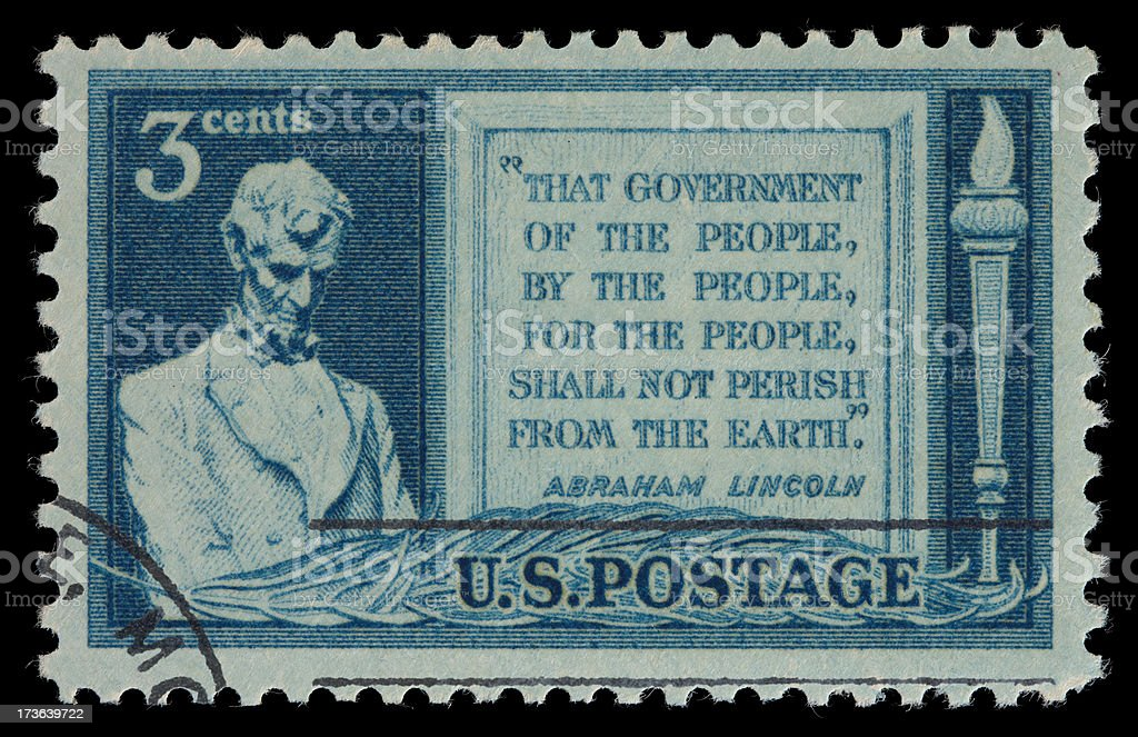 Lincoln Gettysburg Address postage stamp stock photo