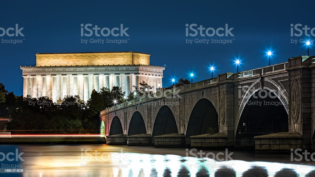Lincoln Memorial and Arlington Bridge stock photo
