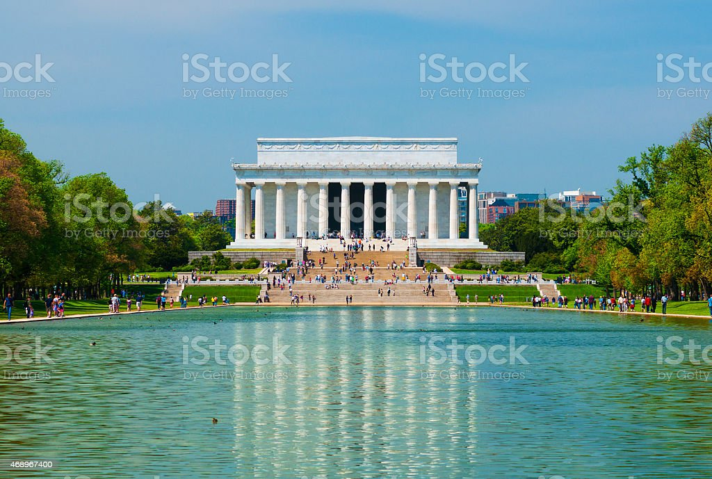 Lincoln Memorial and Reflecting Pool in Washington DC stock photo