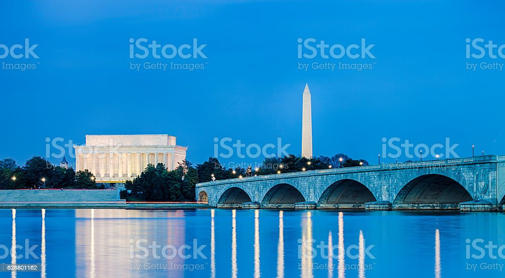 Lincoln Memorial And Washington Monument In Washington DC stock photo