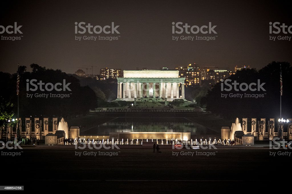 Lincoln Memorial and WWII Monument at Night stock photo
