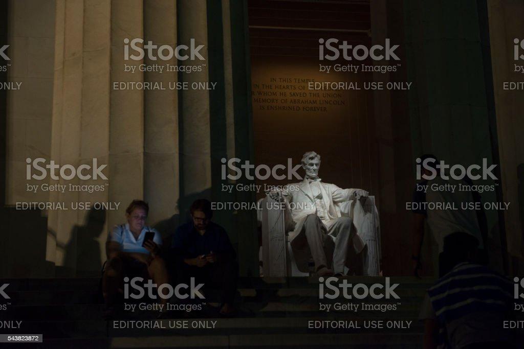 Lincoln Memorial at night in Washington DC stock photo