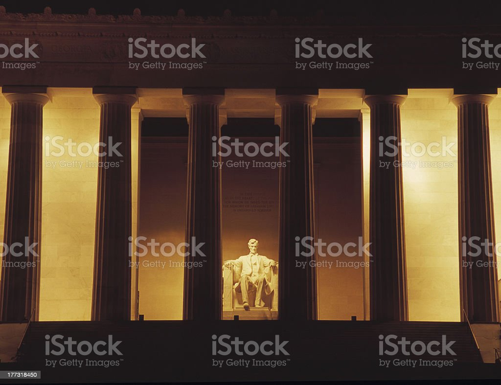 Lincoln Memorial at Night in Washington stock photo