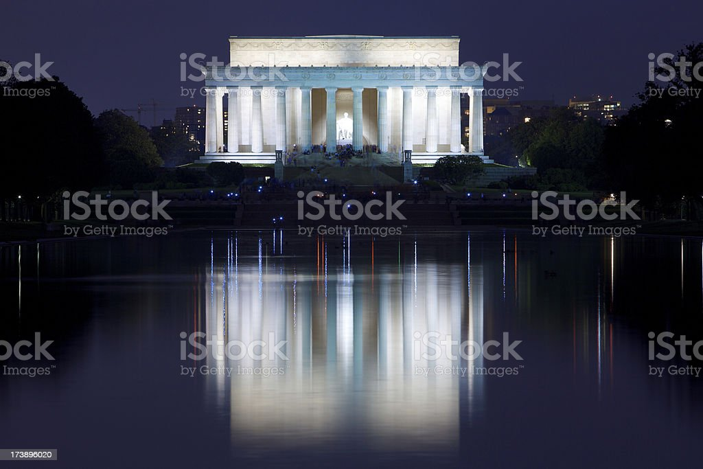 Lincoln Memorial a notte foto stock royalty-free