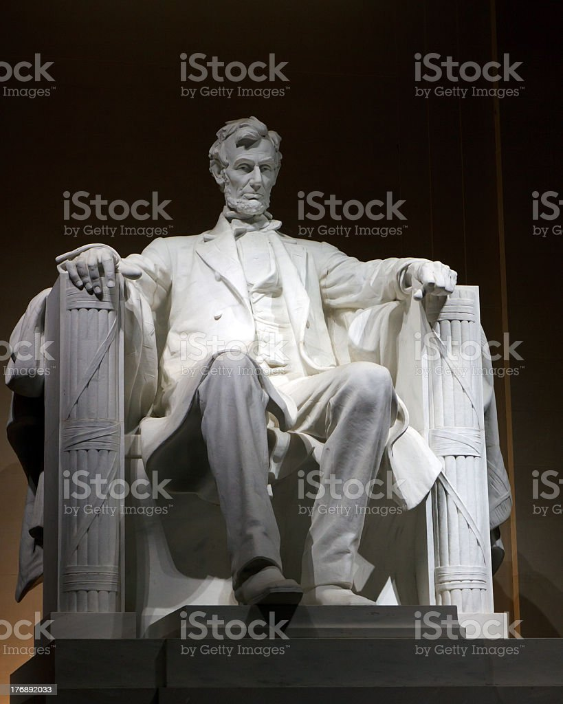 DSLR Lincoln Memorial at night time stock photo