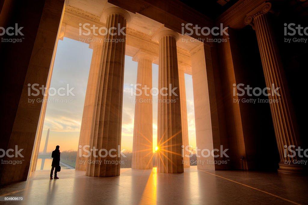 Lincoln Memorial at sunrise stock photo