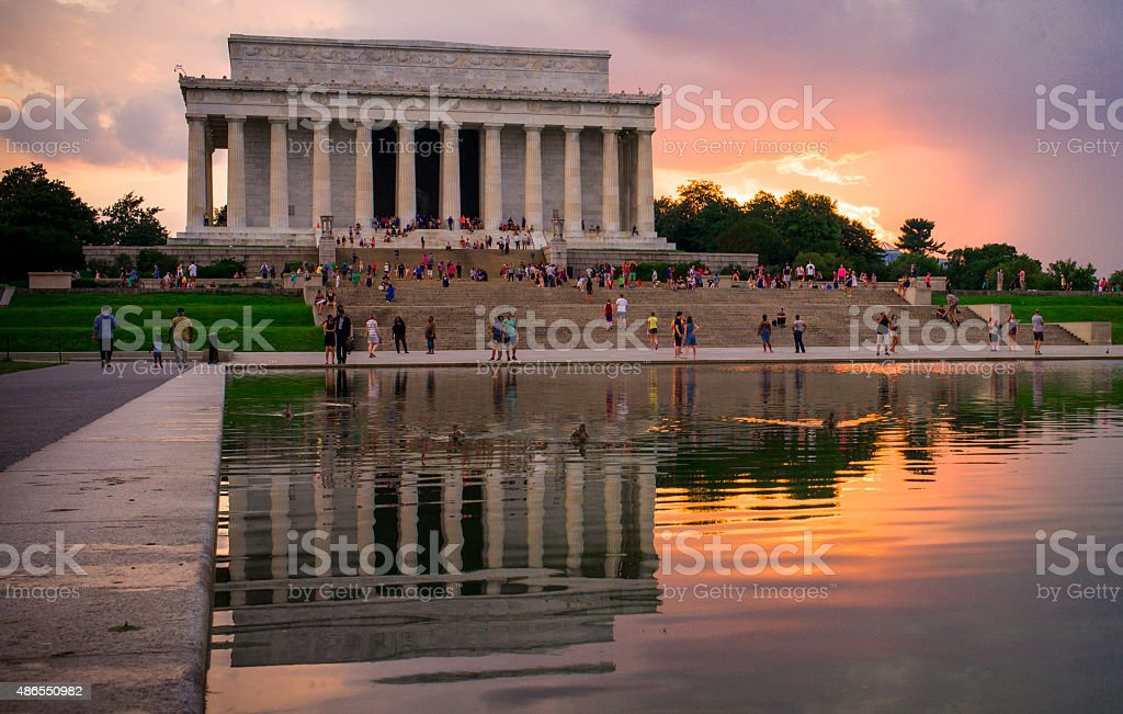 Lincoln Memorial at Sunset stock photo