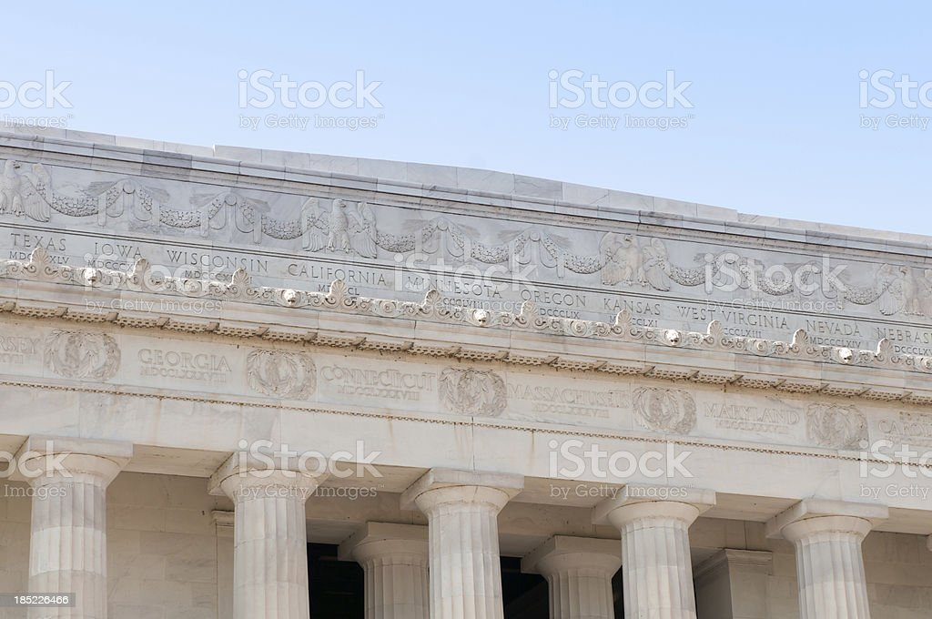 Lincoln Memorial at the Mall, Washington DC, close up royalty-free stock photo