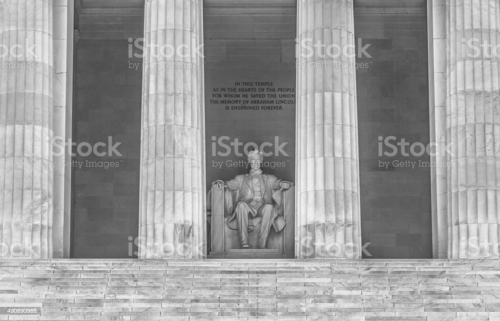 Lincoln Memorial in Washington DC - Close Up Duotone stock photo