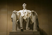 Lincoln memorial in white marble