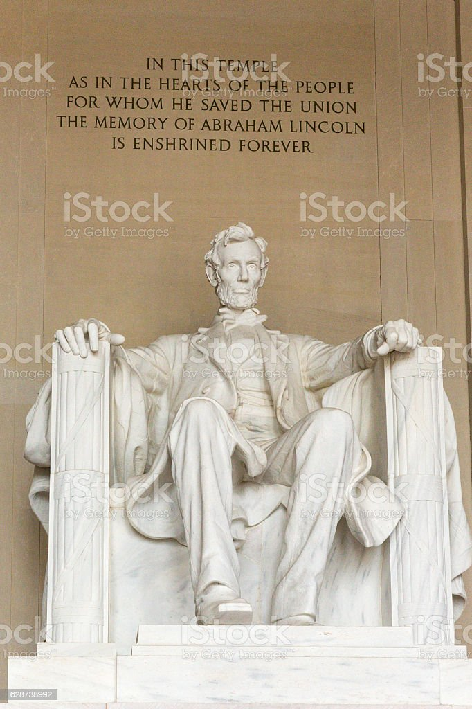 Lincoln Memorial inside view and inscription stock photo