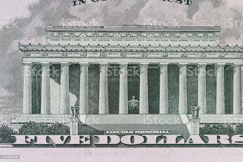 Lincoln Memorial on the 5 dollar bill stock photo