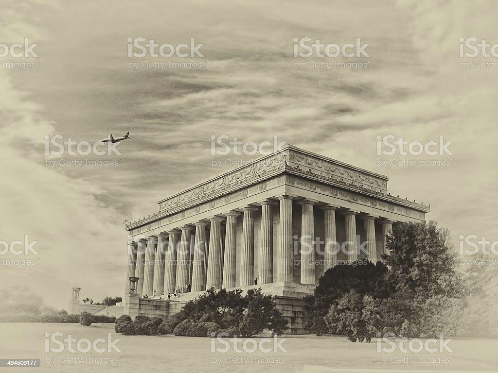 lincoln memorial sepia stock photo