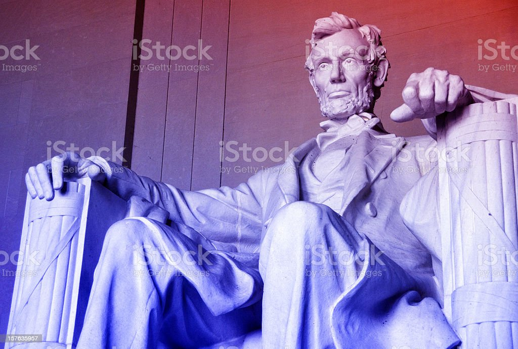 Lincoln Memorial Series, Red, White and Blue stock photo