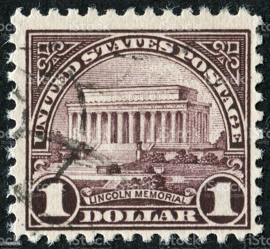 Lincoln Memorial Stamp royalty-free stock photo