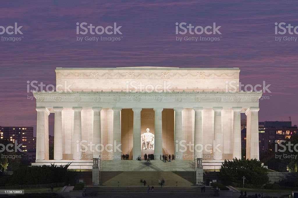 Lincoln Memorial sunset stock photo