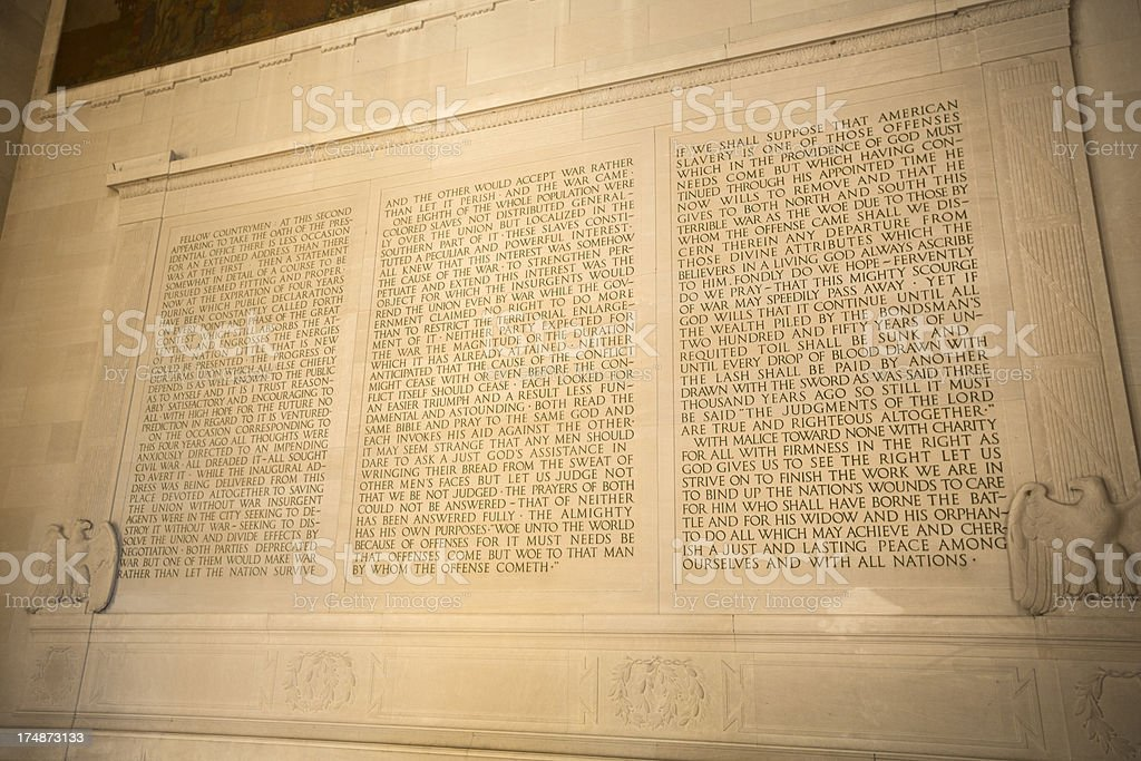 Lincoln Memorial text quote royalty-free stock photo