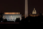 Lincoln Memorial, Washington Monument and Capitol Building