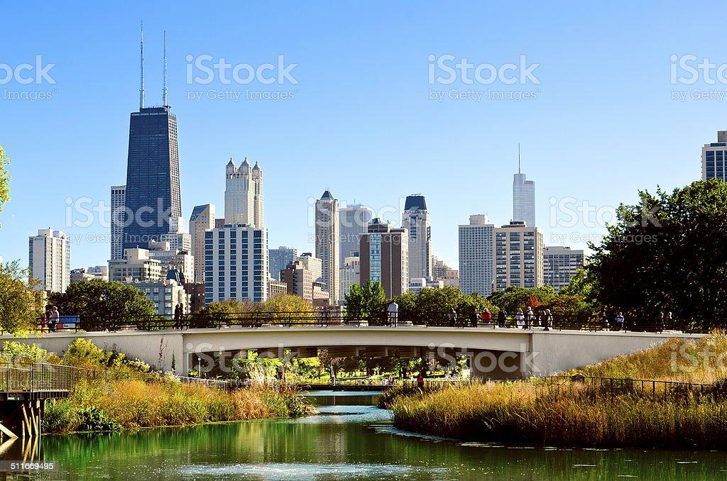 Lincoln Park Bridge Chicago stock photo