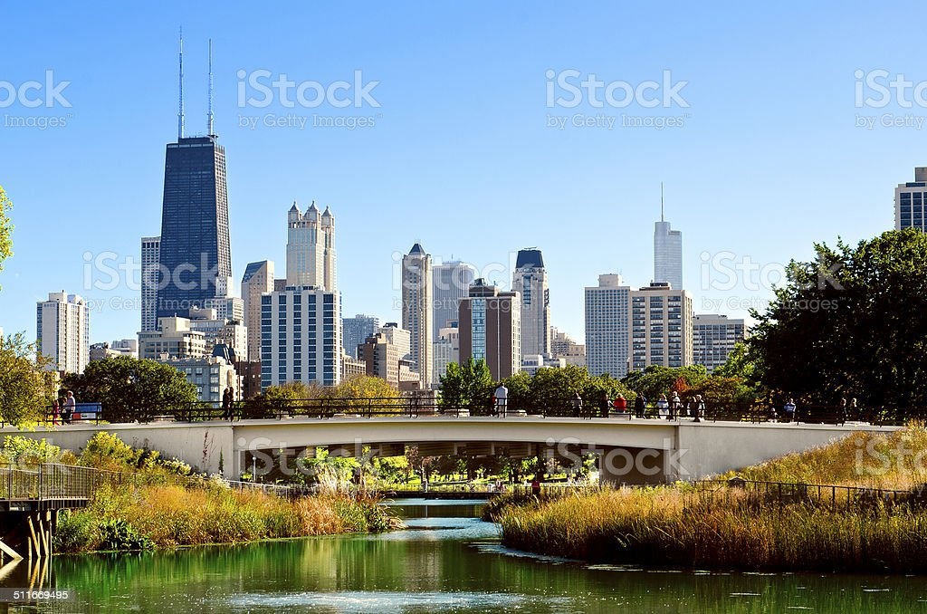 Lincoln Park Bridge Chicago stock photo