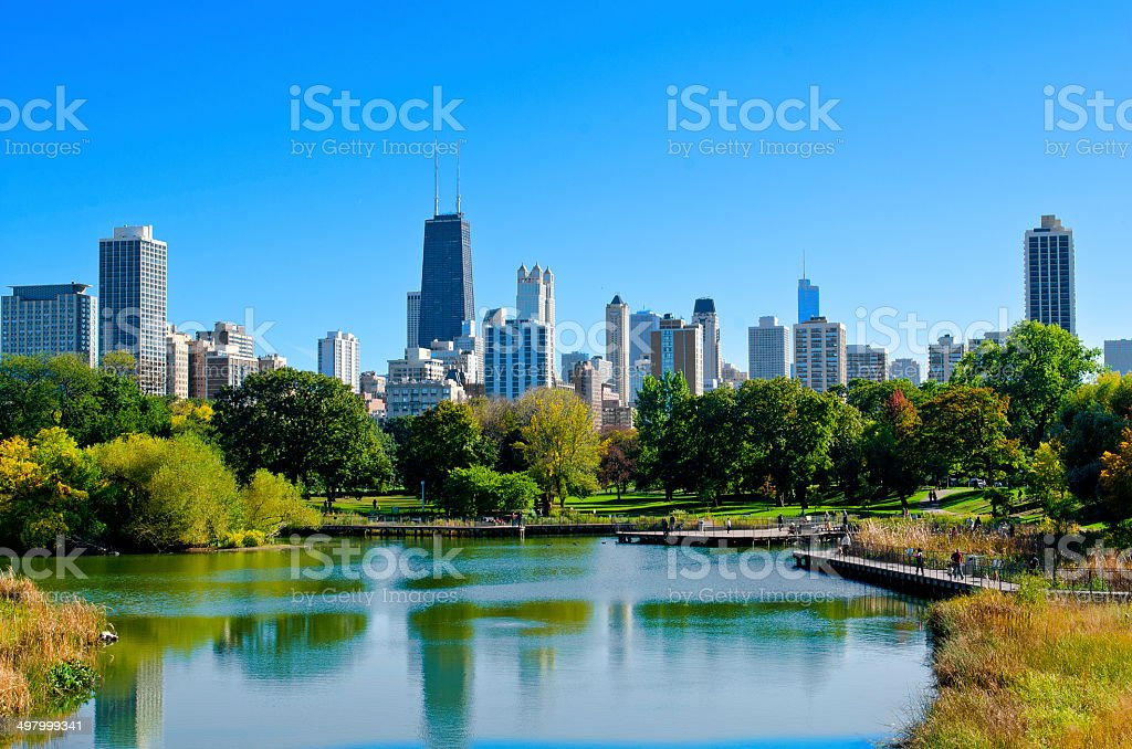 Lincoln Park Pond In Chicago stock photo