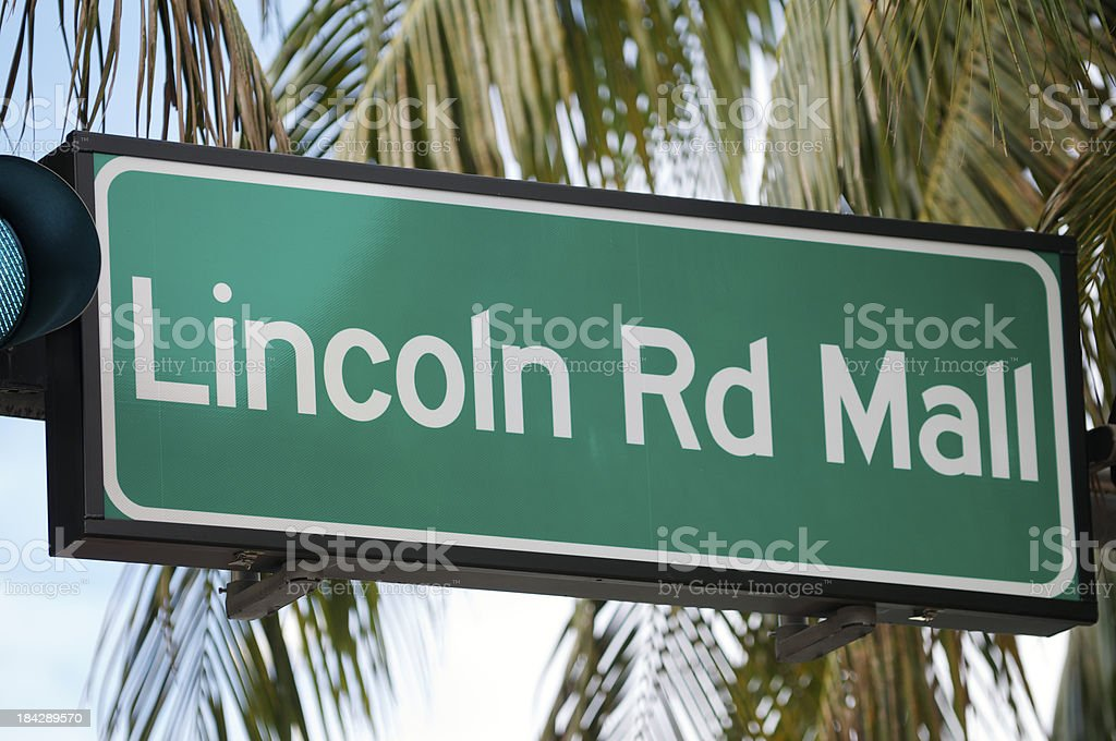 Lincoln Road Mall Miami Beach Stree Sign Palm Tree stock photo