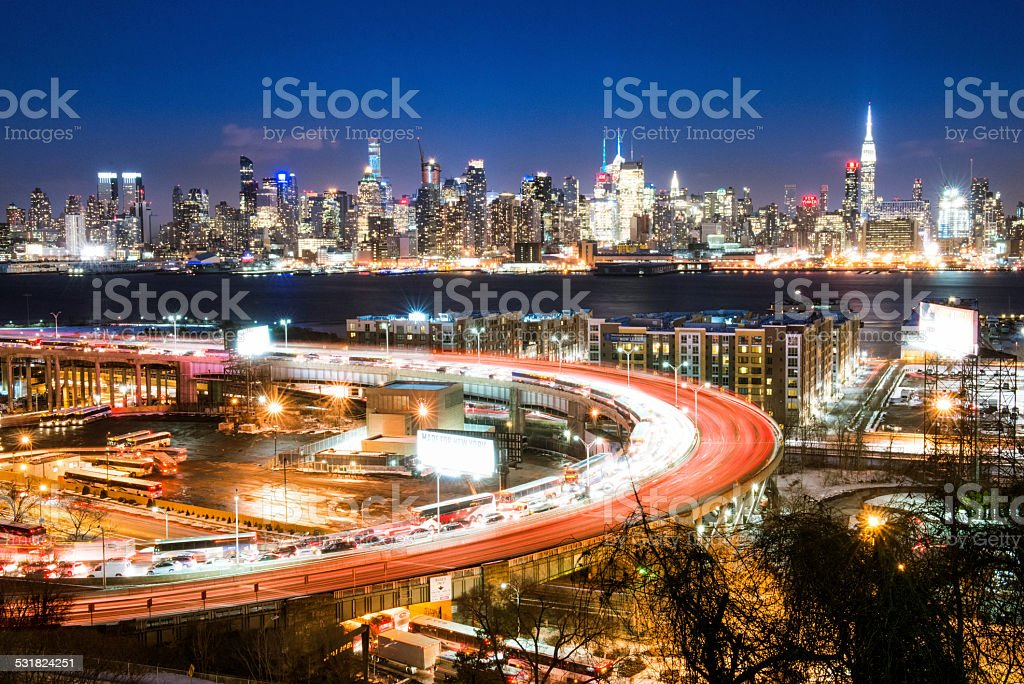 Lincoln Tunnel and New York City Skyline at dusk stock photo
