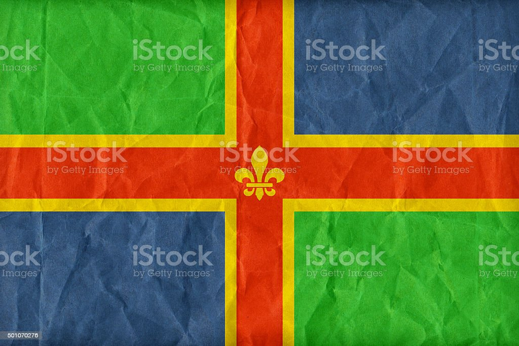 Lincolnshire flag pattern on paper texture,retro vintage style stock photo