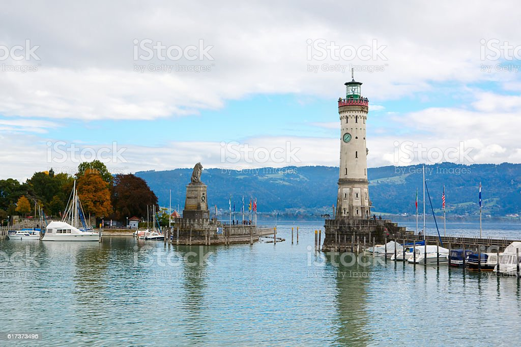 Lindau city, Bodensee, Lighthouse and Entrance of the Harbour. stock photo
