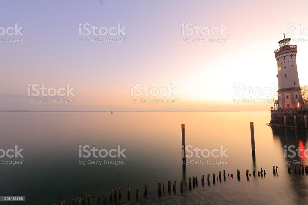 Lindau Lake Constance Blue Hour stock photo