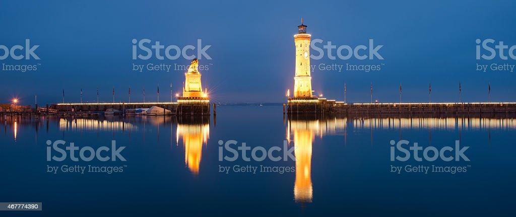 Lindau Lighthouse at night stock photo