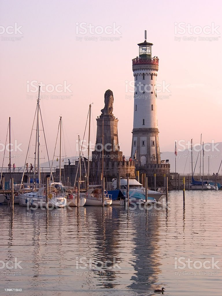 Lindau Lighthouse sunset royalty-free stock photo