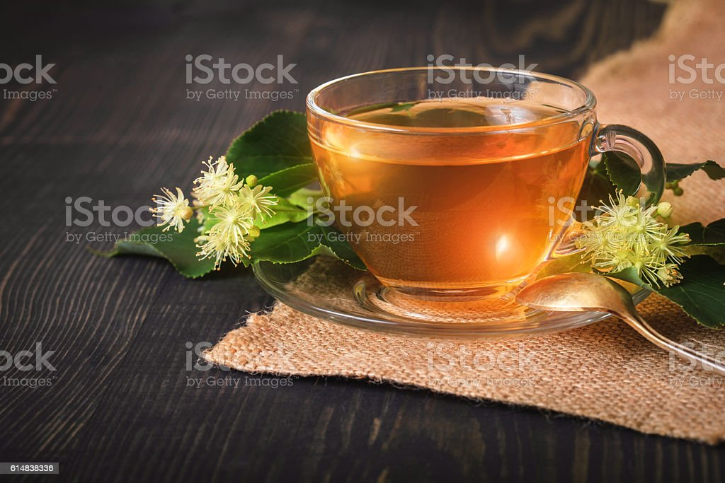 Linden tea in a glass cup. stock photo