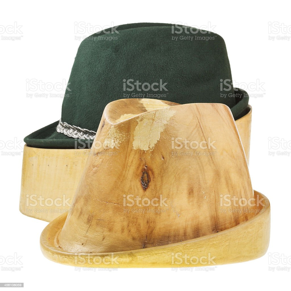 linden wooden block and tyrolean felt hat royalty-free stock photo