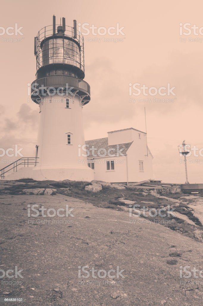 Lindesnes Lighthouse in Norway stock photo