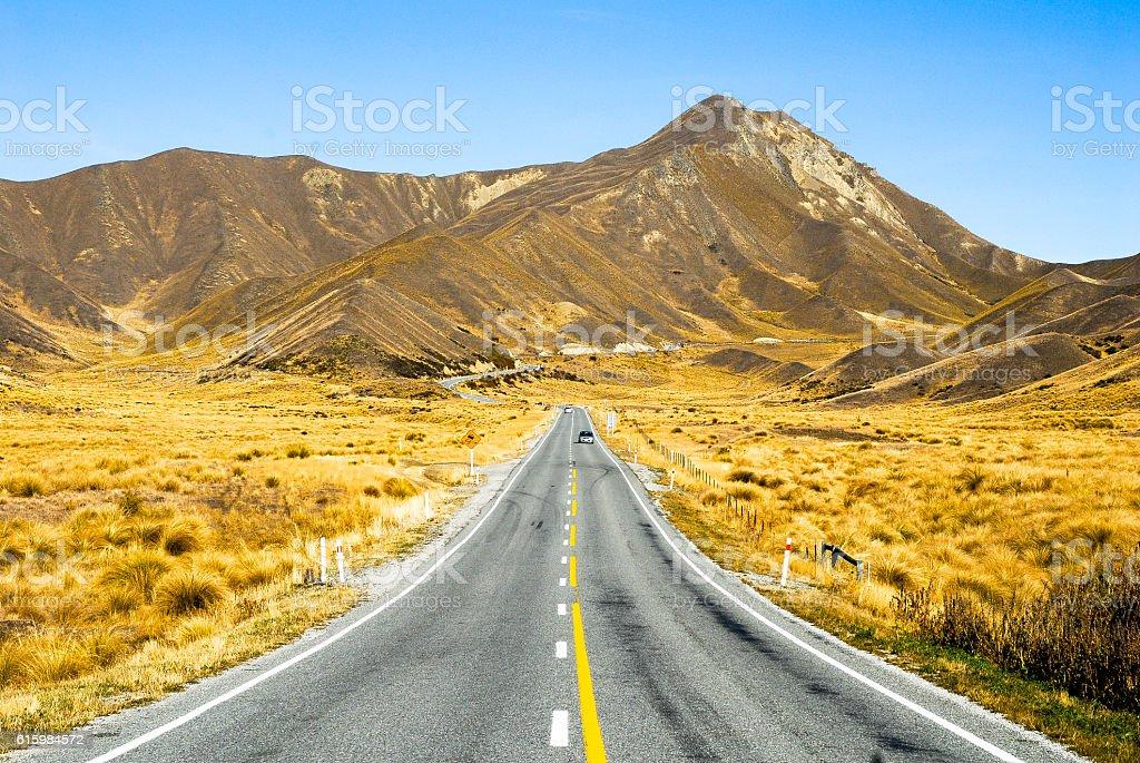 Lindis Pass in autumn,New Zealand stock photo