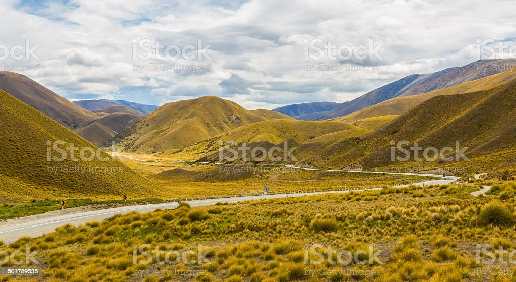 Lindis Pass, New Zealand stock photo
